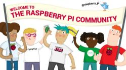 Welcome to the Raspberry Pi community, 5 people under a banner