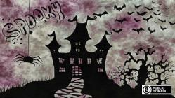 Spooky halloween house with bats