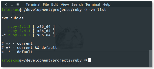 RVM list screenshot