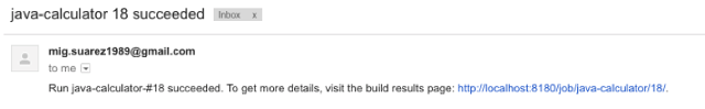 Email notification of successful build