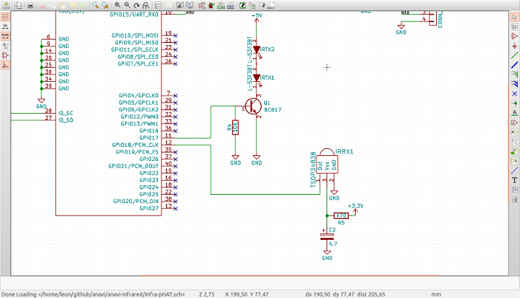 Schema of ANAVI Infared pHAT in KiCAD