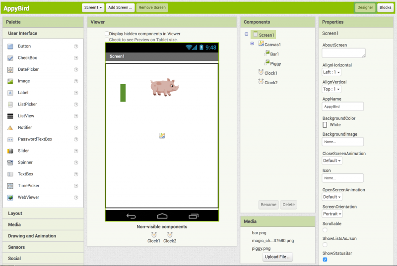 "Starting to program the ""Appy Bird"" app"