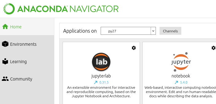 Selecting other applications in Anaconda Navigator