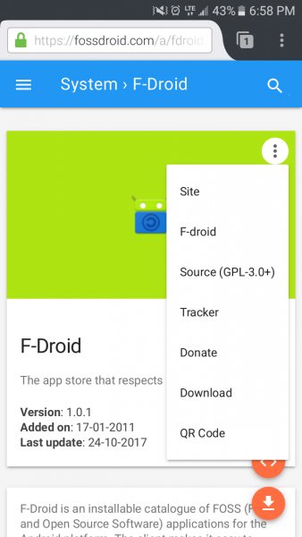 Fossdroid App Page with Menu