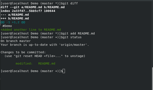 Terminal output of git diff and git add