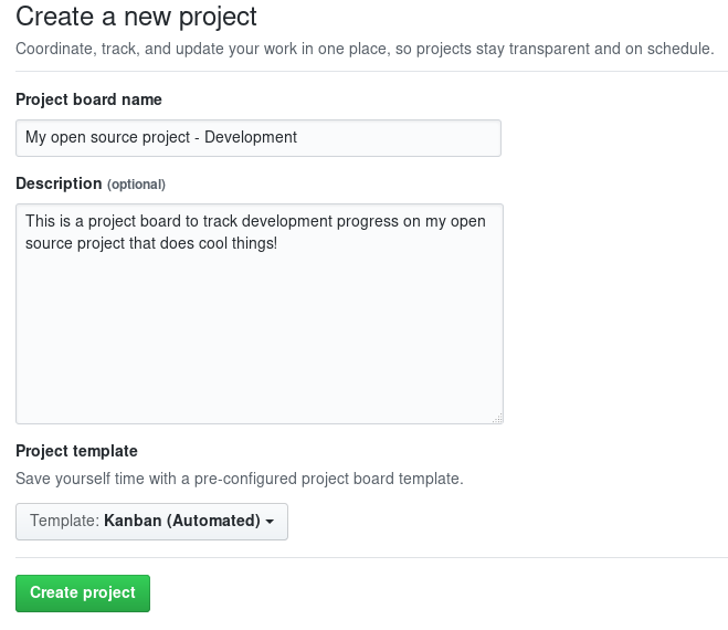 Creating a new GitHub project board.