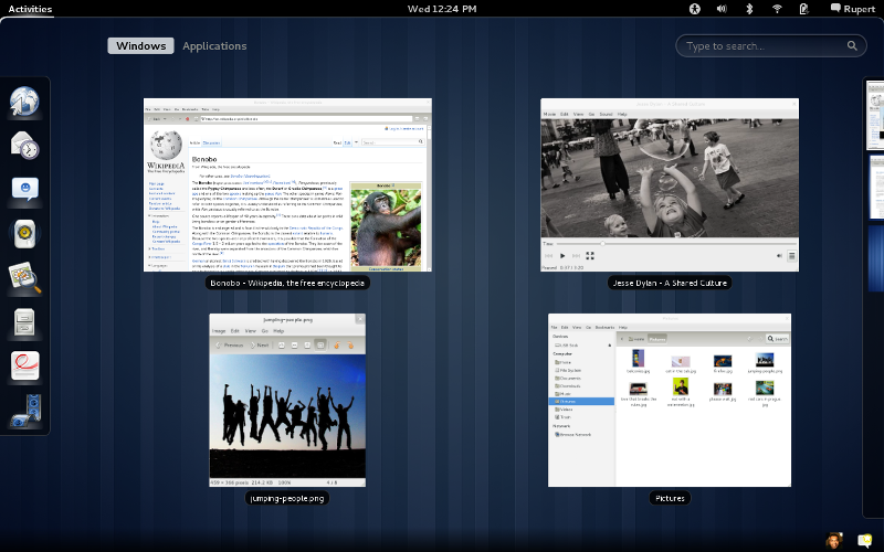 GNOME 3 Overview mode