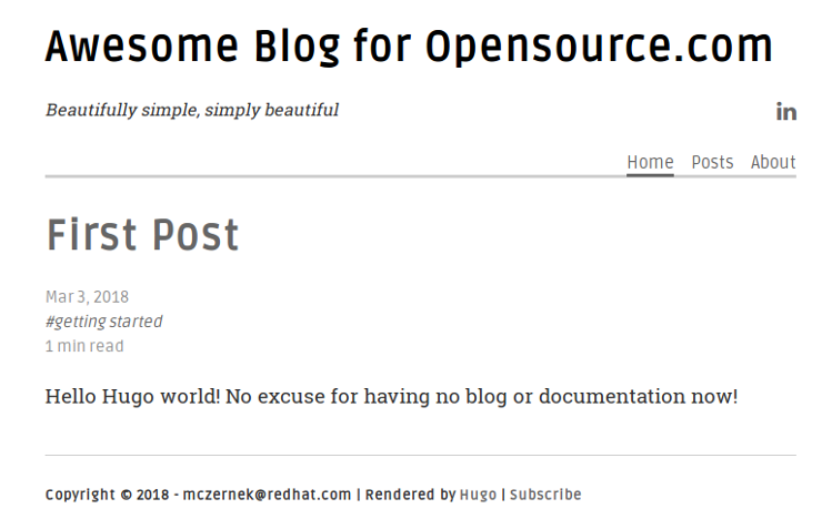 A sample blog created in Hugo