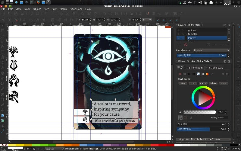 Card layout in Inkscape
