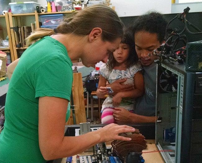 Participants in Makerspace 125 PC-building workshop