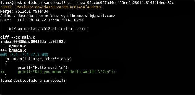 Output after executing the git-show command