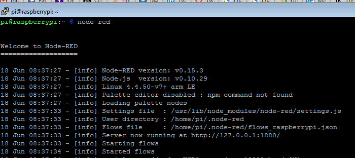 ​​​​Launching Node-RED in Raspberry Pi