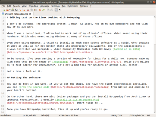 Getting started with the Notepadqq Linux text editor