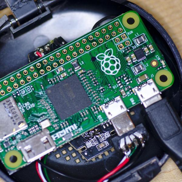 Raspberry Pi Zero slotted into the case