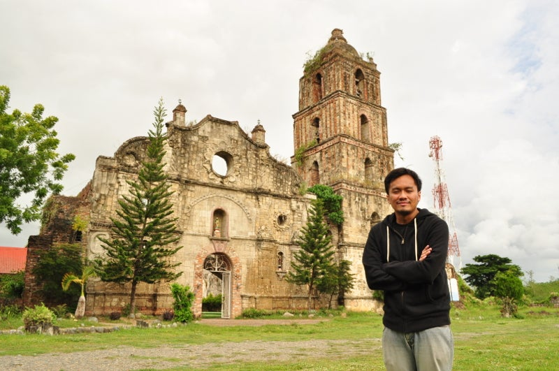 Joel Aldor in front of San Pablo Church Ruins