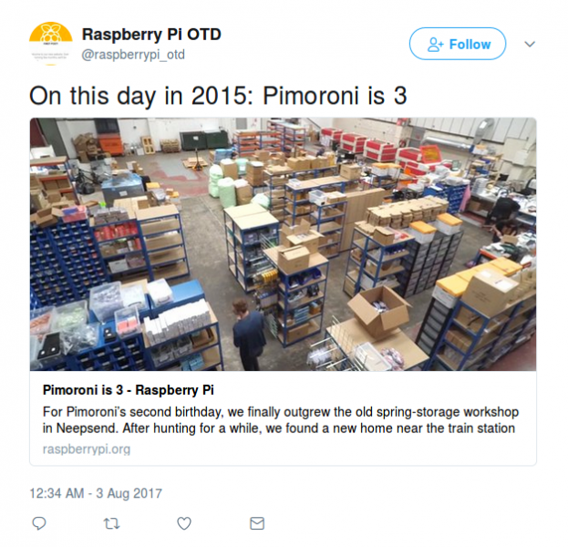 Raspberry Pi on this day twitter feed