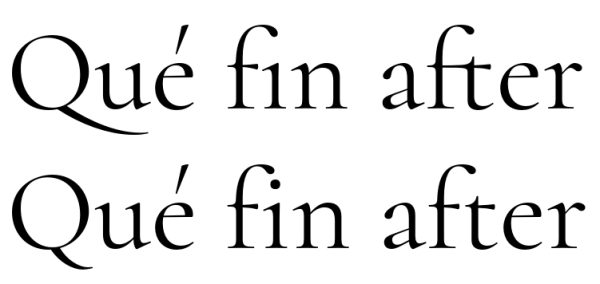 Example of OpenType features