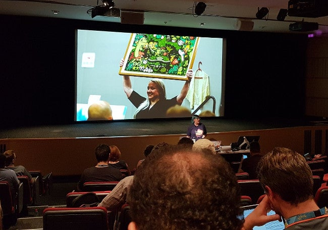 A photo from the audience during the final talk of the Art and Tech miniconf.