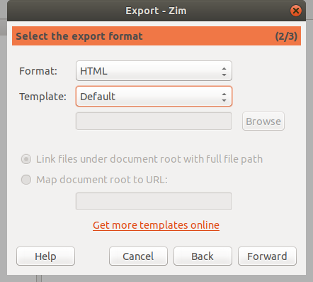 Selecting export format