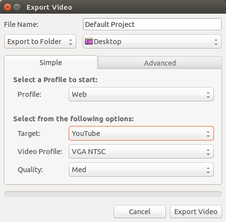 ubuntu video export window