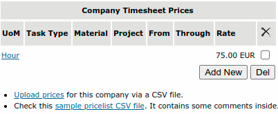 Company Timesheet Prices portlet
