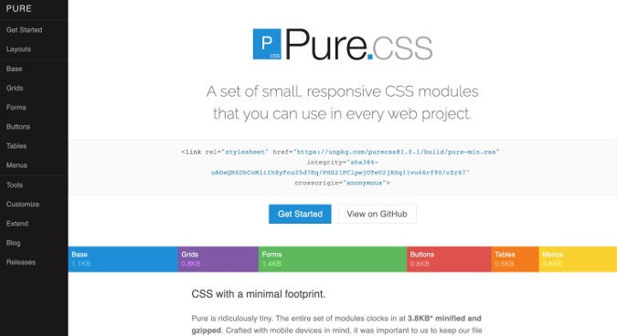 Pure.css homepage