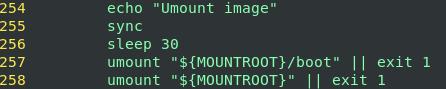 Sleep in between sync and unmount - core dump example