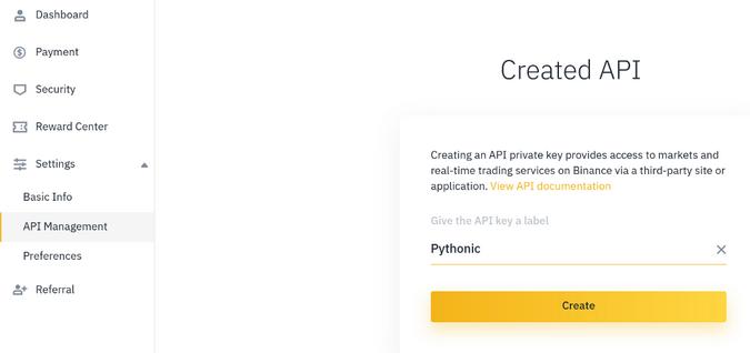 Creating an API key in Binance