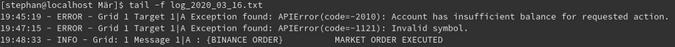 Logging output of Binance Order element