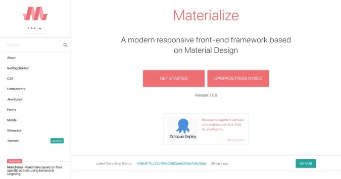 Materialize homepage