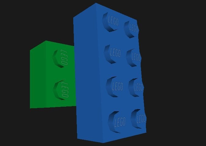 one blue and one green brick