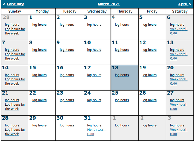 Time sheet calendar
