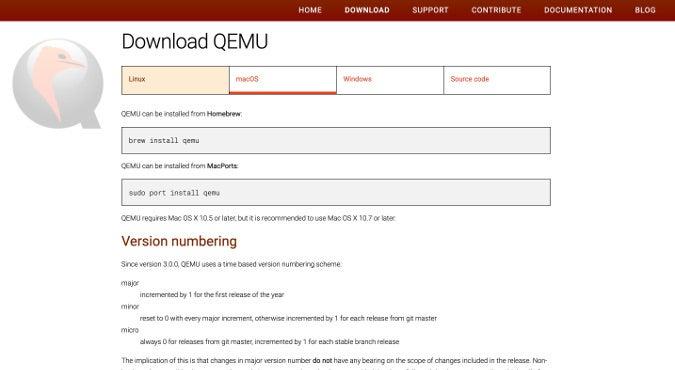 QEMU macOS installation info