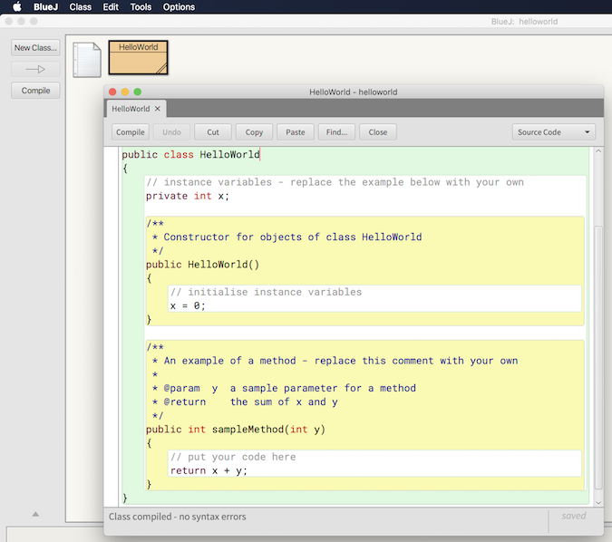 BlueJ IDE screenshot