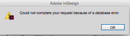 InDesign error message