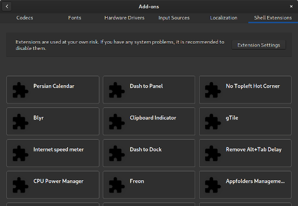 Package Manager Add-ons Extensions view
