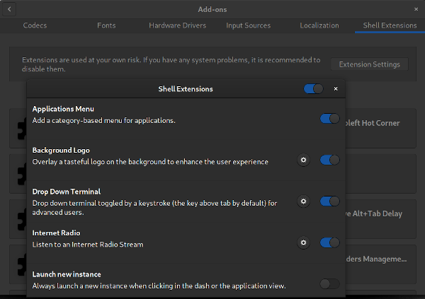 Extension Settings