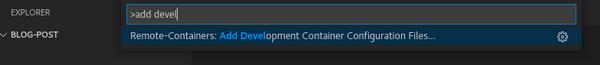Remote-Containers: Add Development Container Configuration Files