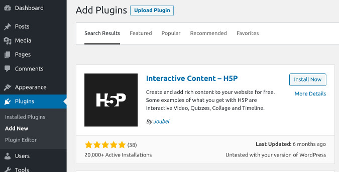Adding the H5P plugin