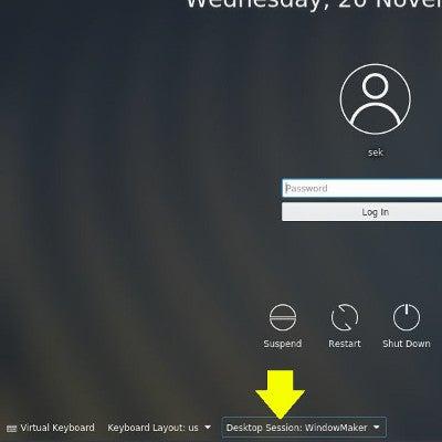 Selecting the Enlightenment desktop in KDM