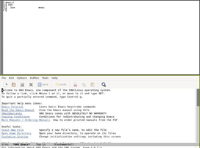 Emacs running in Herbstluftwm