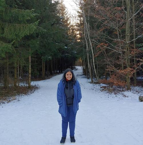 Anisha Swain in snow