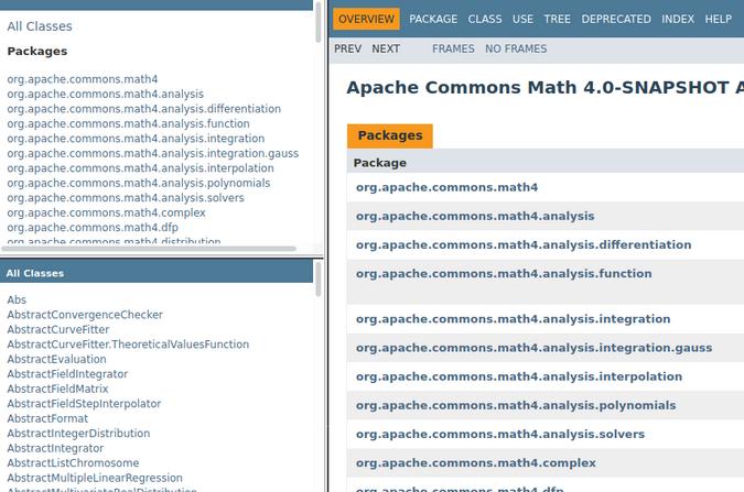API documentation for Apache Commons Math