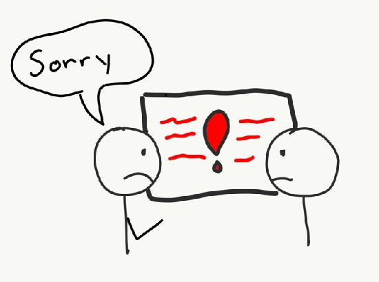 Stick figure apologizing