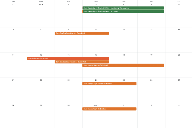 Google calendar of speaking engagements