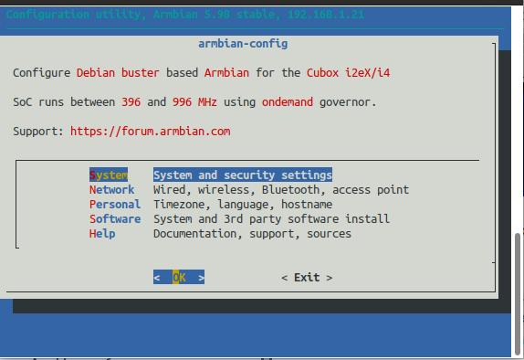 Armbian-Config screen