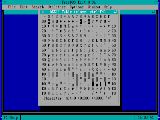 utilities menu - ascii table