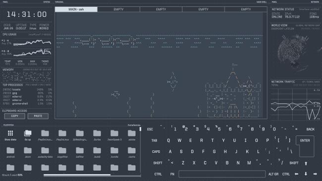 Asciiquarium in eDEX-UI