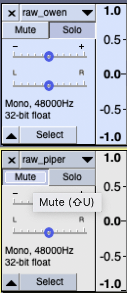 Mute and Solo buttons for multiple tracks