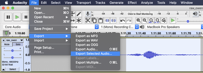Exporting selected audio